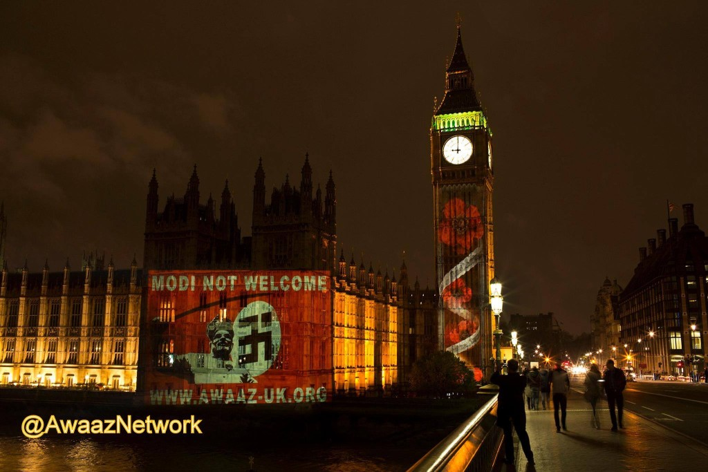 Image projected onto the Houses of Parliament in London by protestors ahead of Modi's UK visit